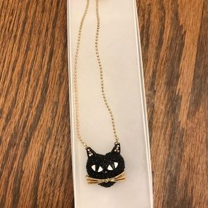 Betsey Johnson Black cat gold necklace